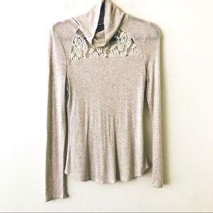 ANTHROPOLOGIE Eloise Lace Yoke Mockneck Sweater